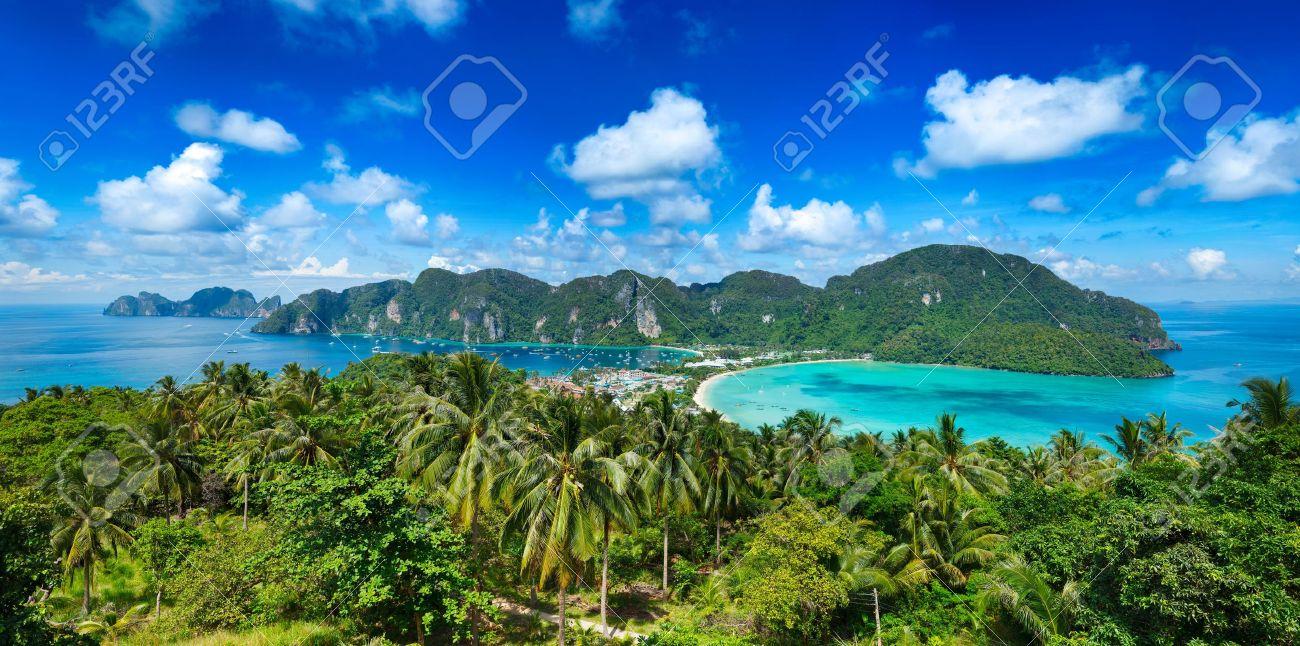 Panorama of tropical island. Phi-Phi island, Thailand Stock Photo - 13248372