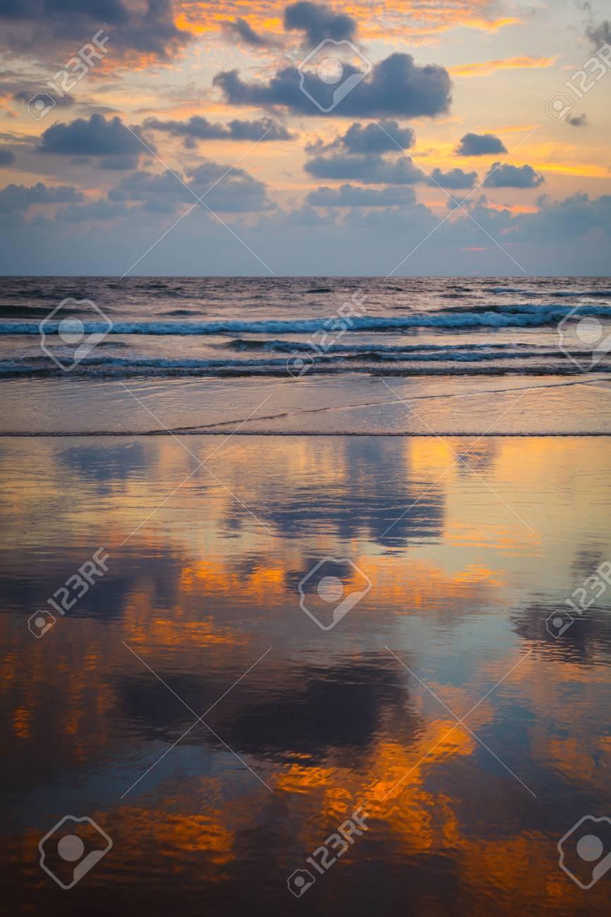 Sunset on Baga beach. Goa, India Stock Photo - 15442472
