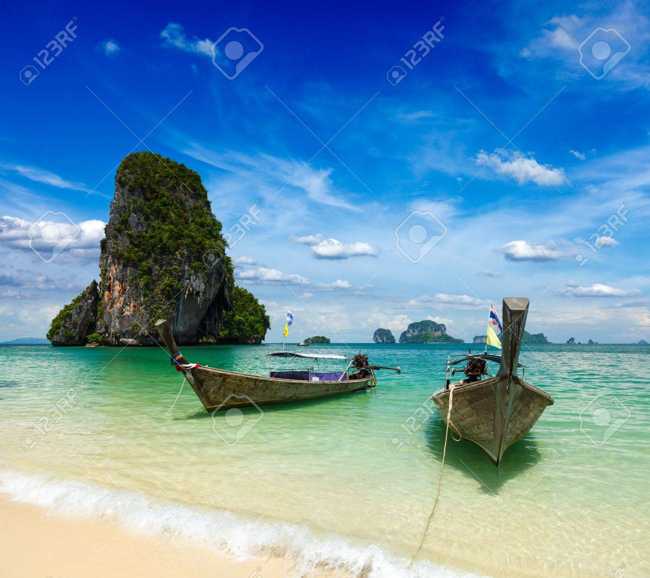 Long tail boats on tropical beach, Krabi, Thailand Stock Photo - 16185823