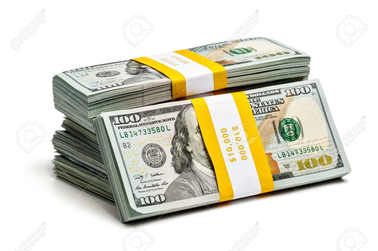 creative business finance making money concept stack of bundles