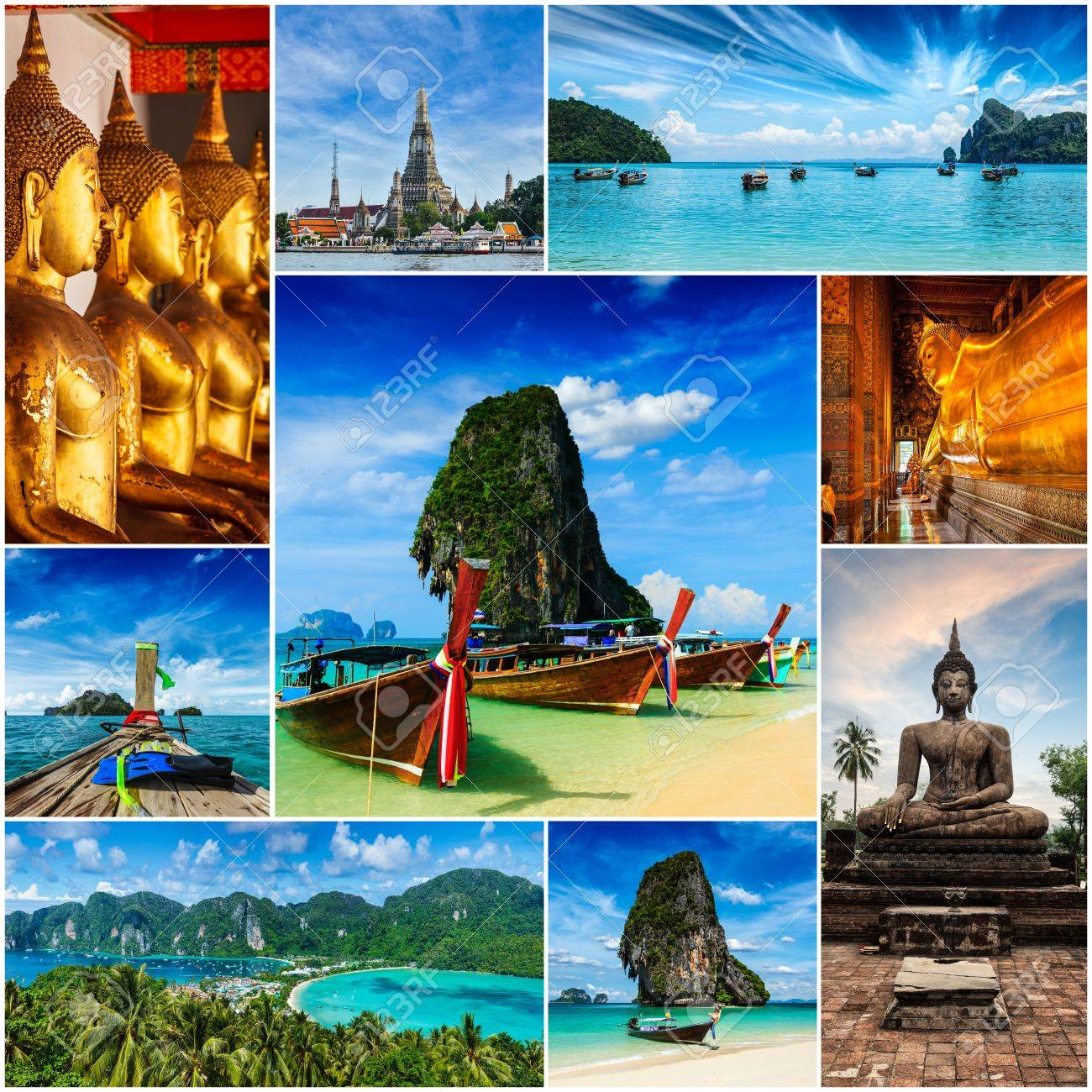 Collage Of Thailand Images Stock Photo