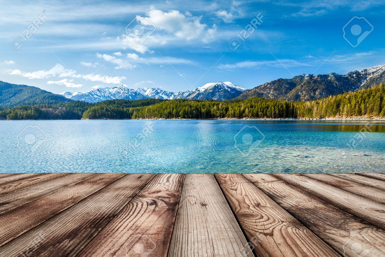 Wooden planks European nature background with lake in Alps, Germany - 43210996