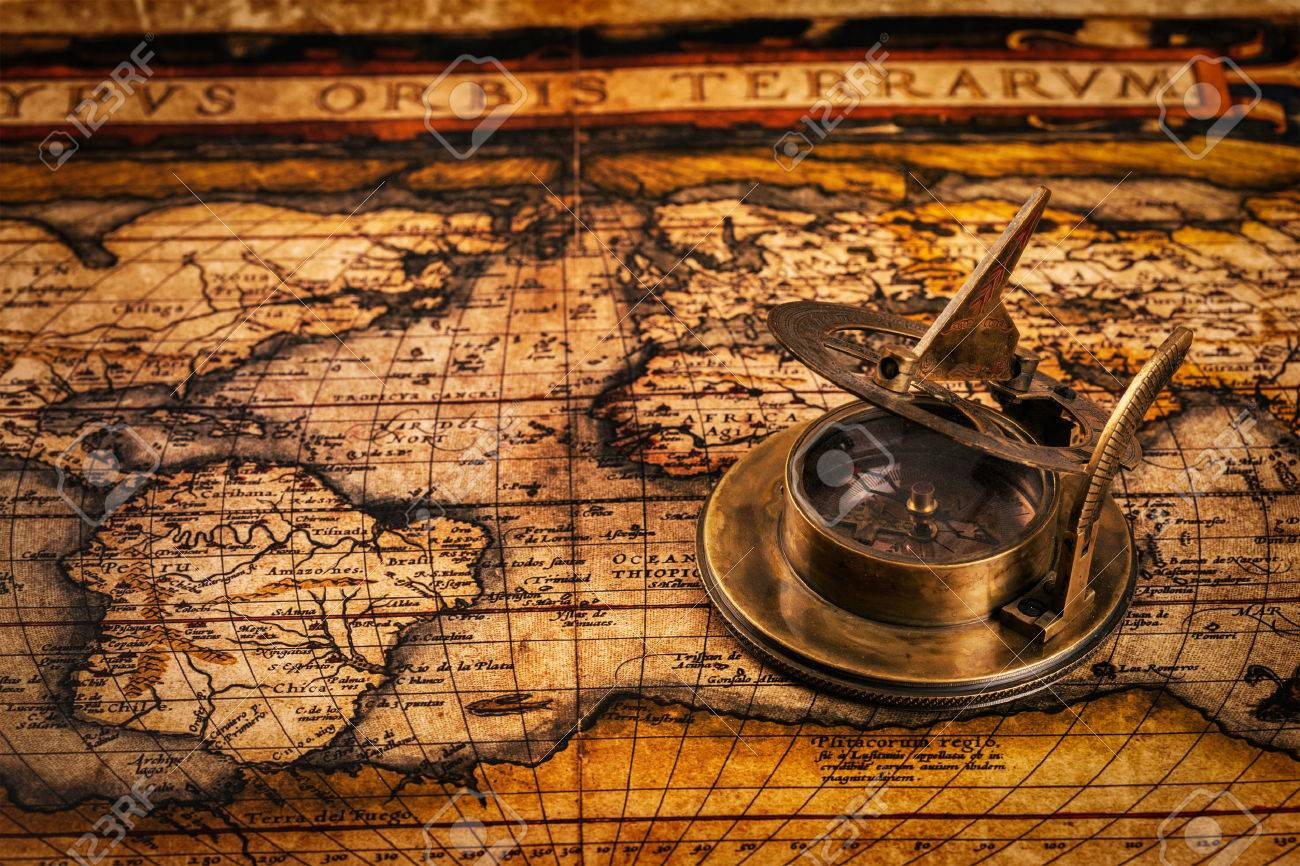 Travel geography navigation concept background - old vintage retro compass with sundial on ancient world map - 43579232