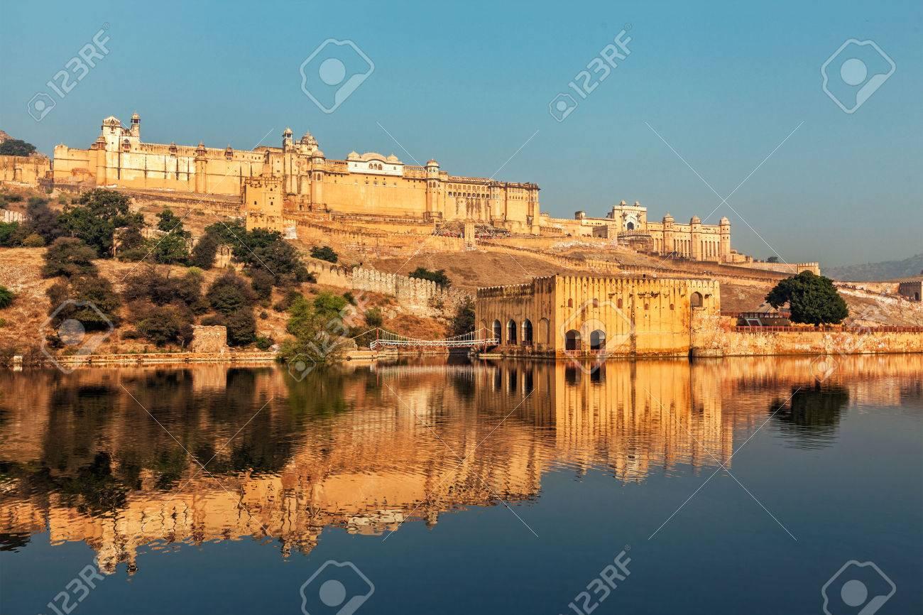 Famous Rajasthan indian landmark - Amer (Amber) fort, Jaipur, Rajasthan, India - 43579312