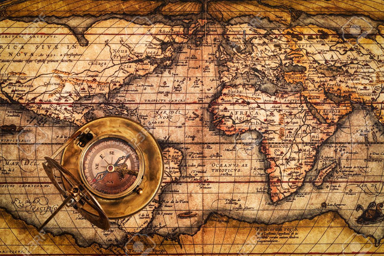 Travel geography navigation concept background - old vintage retro compass with sundial on ancient world map - 46100090