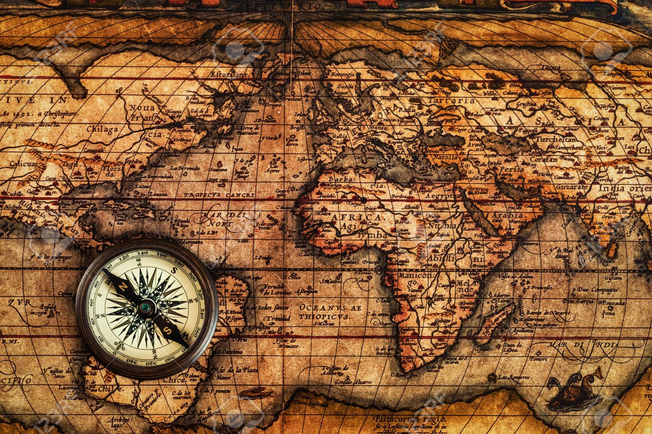 Travel geography navigation concept background old vintage stock stock photo travel geography navigation concept background old vintage retro compass on ancient world map gumiabroncs Gallery