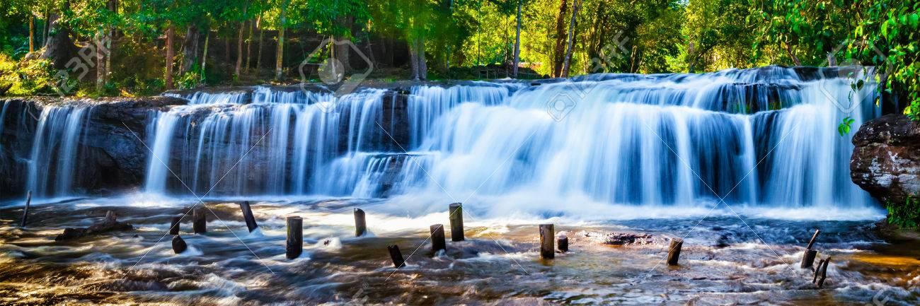 Panorama of Tropical waterfall Phnom Kulen, Cambodia - 47058229