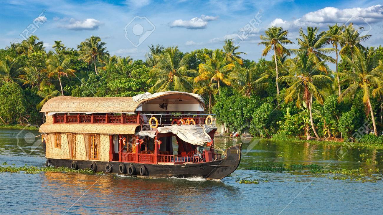 Panorama of houseboat on Kerala backwaters. Kerala, India - 47713515