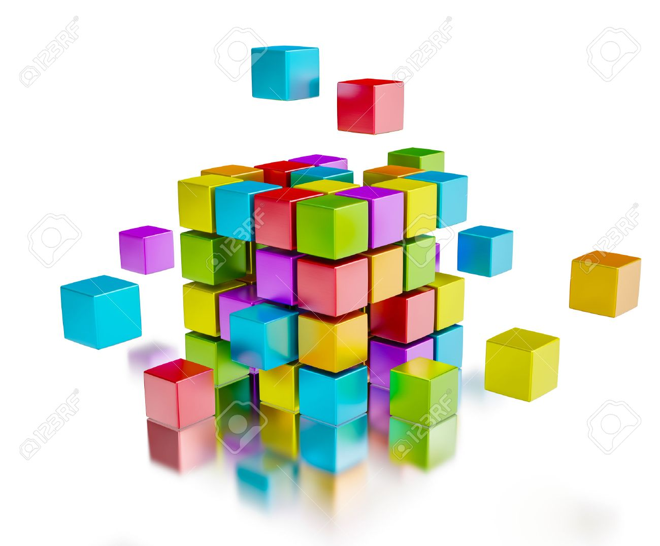 Business team teamwork collaboration concept - colorful color cubes assembling into cubic structure isolated on white with reflection - 48769508