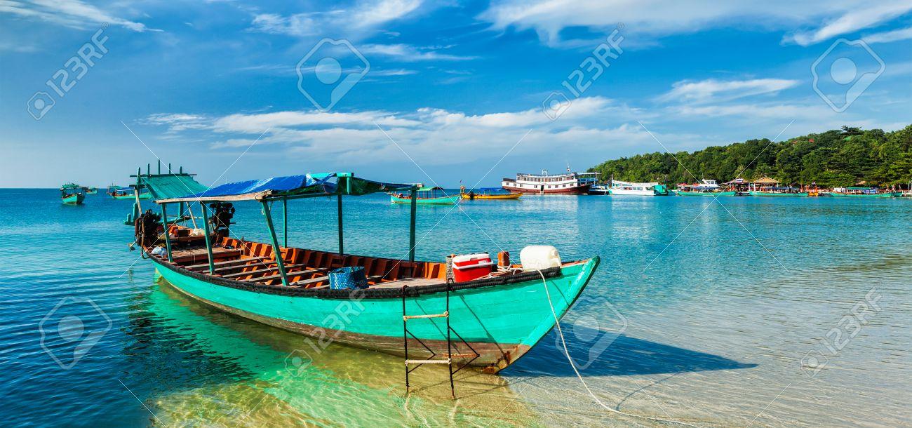 Panorama of boat in Sihanoukville, Cambodia - 50150681
