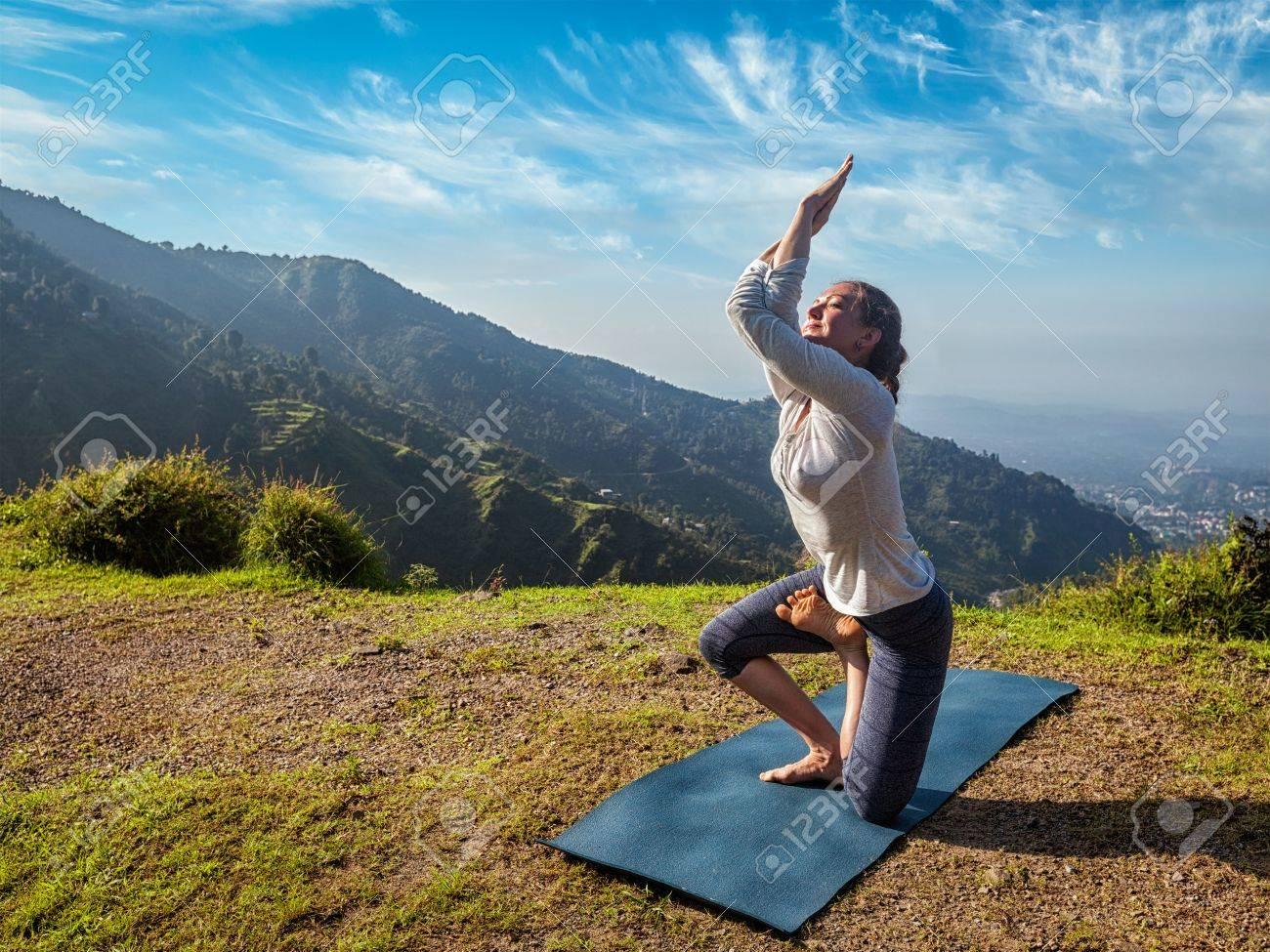 Young Woman Doing Ashtanga Vinyasa Yoga Advanced Difficult Asana