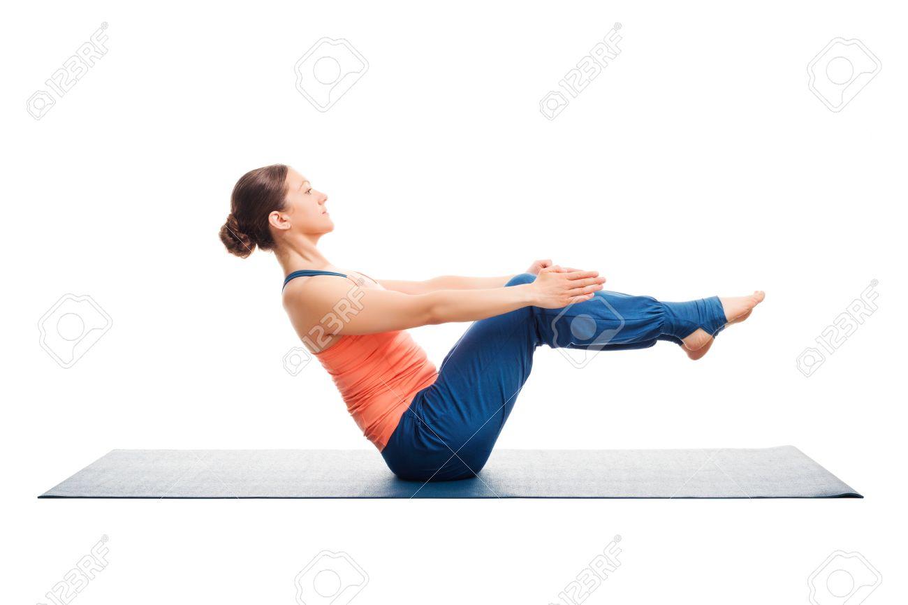 Beautiful Sporty Fit Woman Doing Ashtanga Vinyasa Yoga Asana Paripurna Navasana