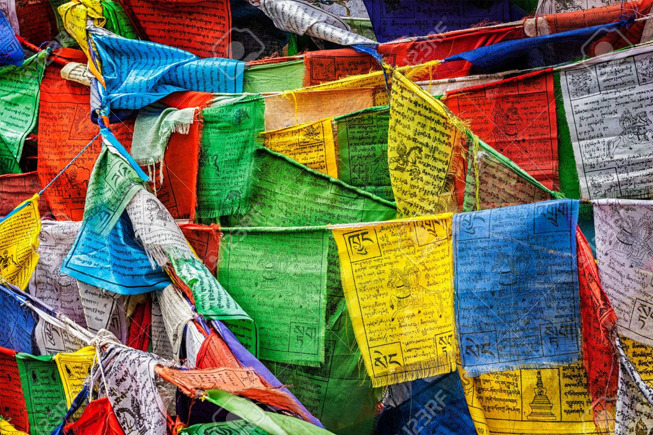 Tibetan Buddhism prayer flags (lungta) with prayer mantra Om
