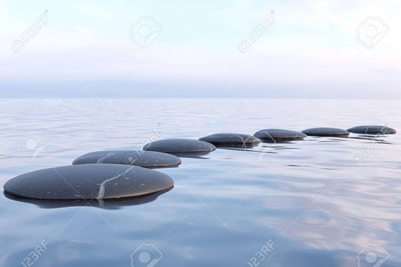Zen stones in water with reflection - peace meditation relaxation concept - 61506854