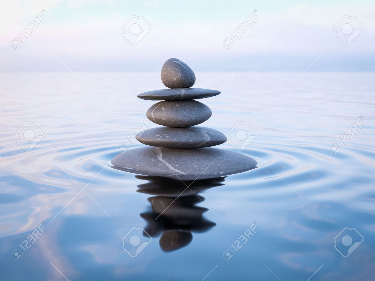 3d Rendering Of Zen Stones In Water With Reflection Peace
