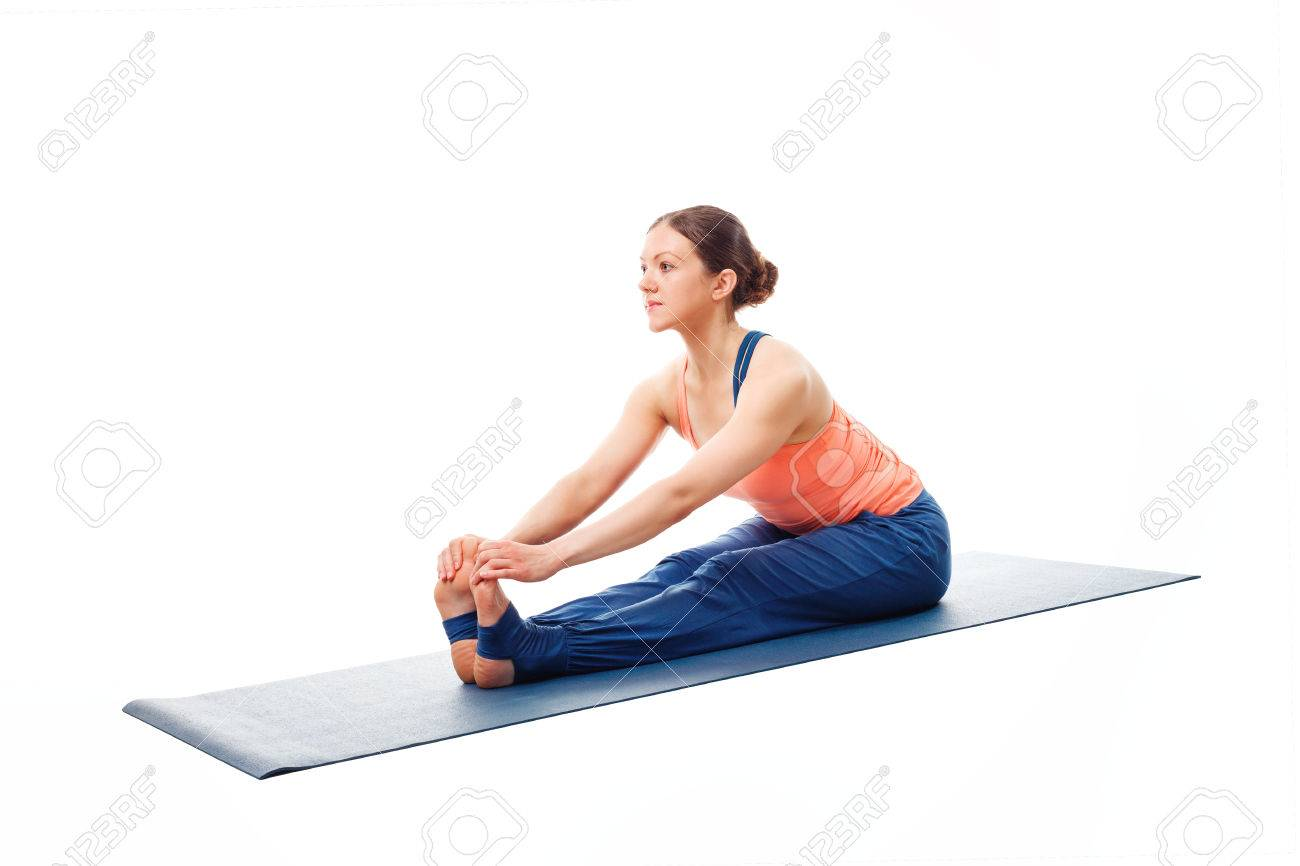 Woman Doing Ashtanga Vinyasa Yoga Asana Paschimottanasana