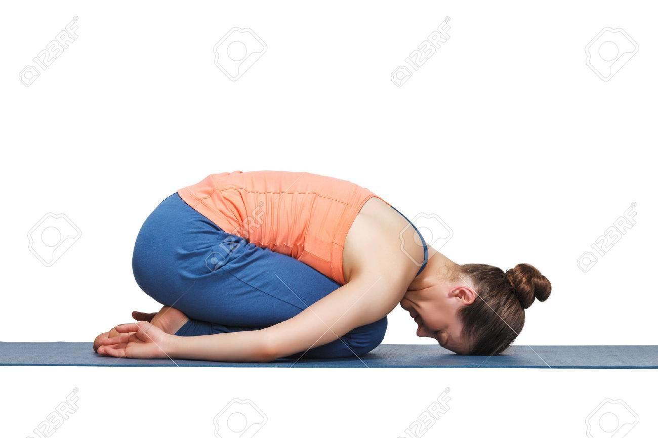 Beautiful Sporty Fit Yogini Woman Practices Yoga Asana Balasana Childs Pose