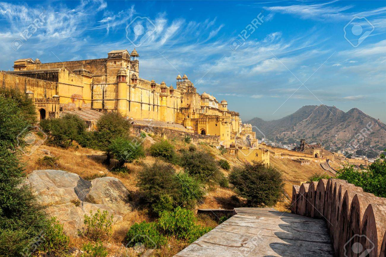 Indian travel famous tourist landmark - view of Amer (Amber) fort, Rajasthan, India - 65819868