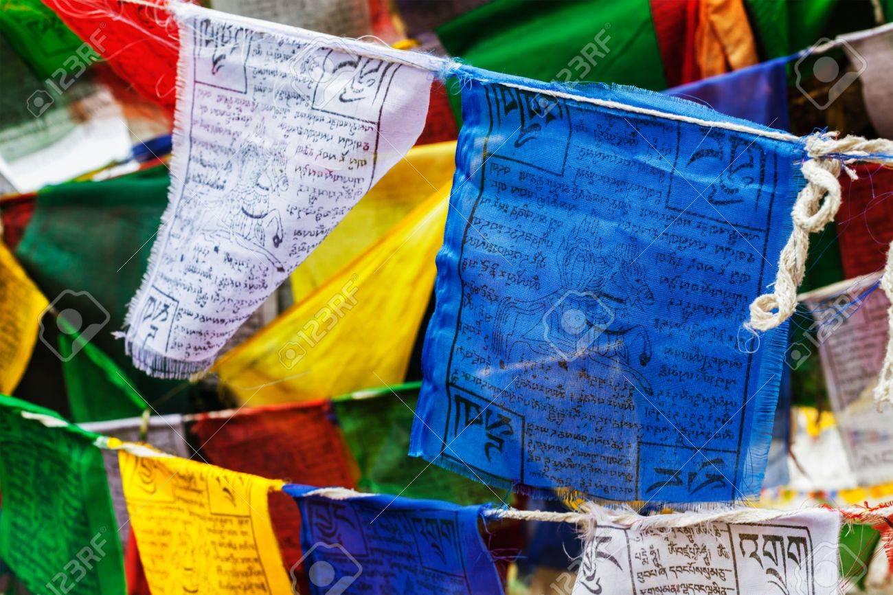 Tibetan Buddhism prayer flags (lungta) with Om Mani Padme Hum