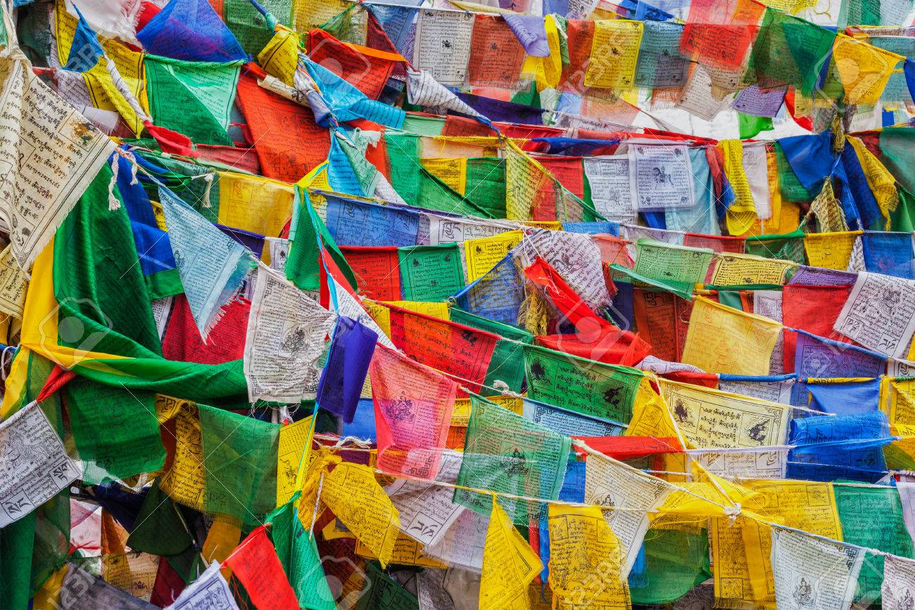 Tibetan Buddhism prayer flags (lungta) with Om Mani Padme Hum