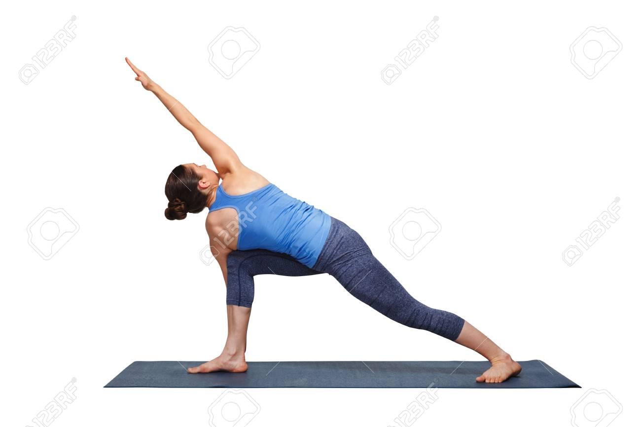 Woman Doing Ashtanga Vinyasa Yoga Asana Parivrtta Parsvakonasana