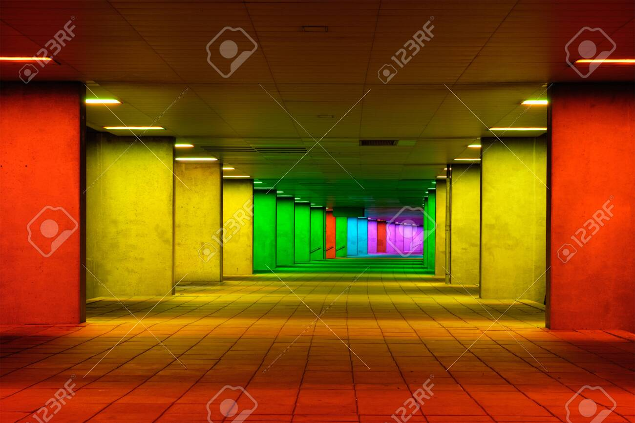 Colorful mulitcolord illuminated gallery tunnel near Museum Park, Rotterdam, The Netherlands - 122003717