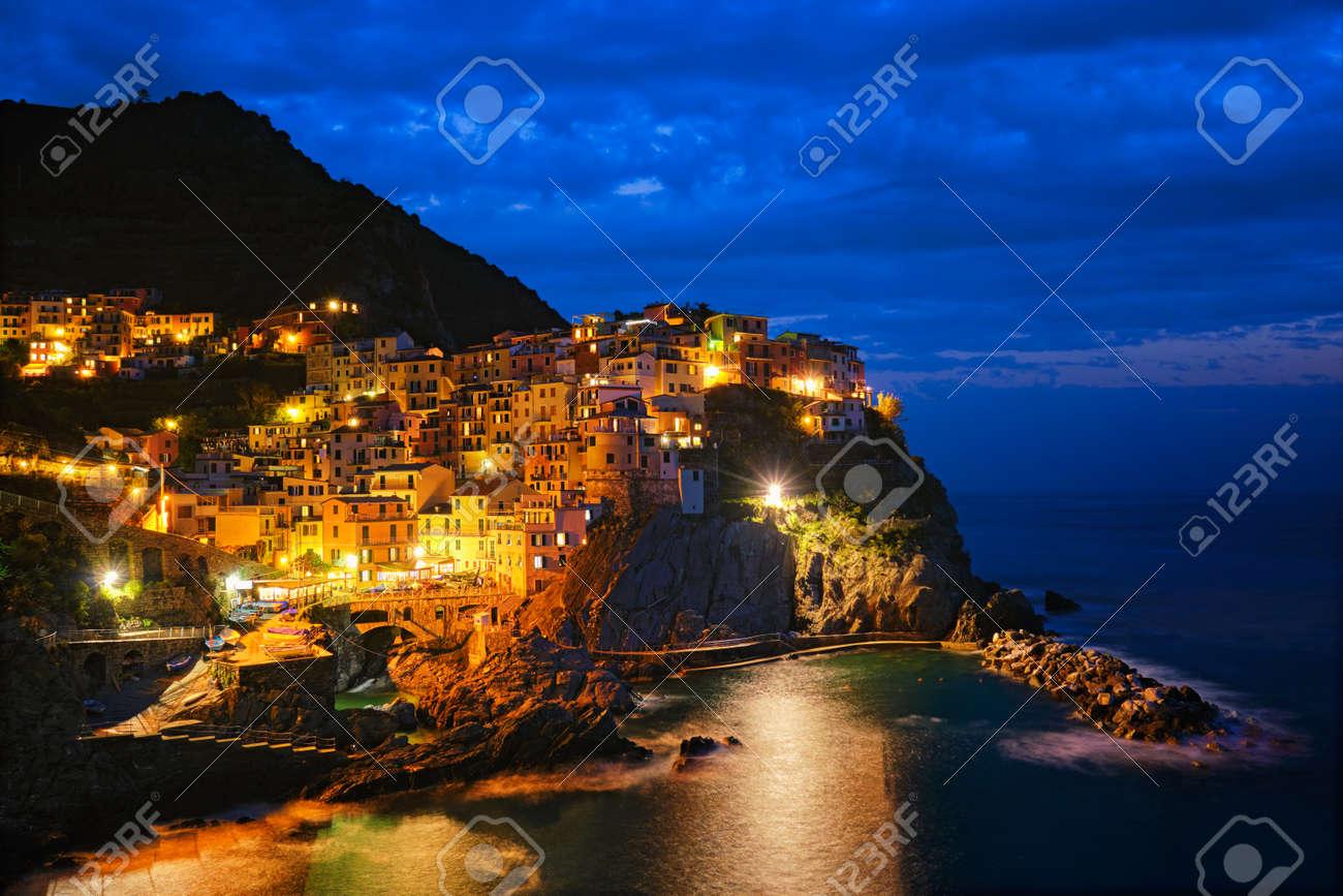 Manarola village n the night, Cinque Terre, Liguria, Italy - 156280705