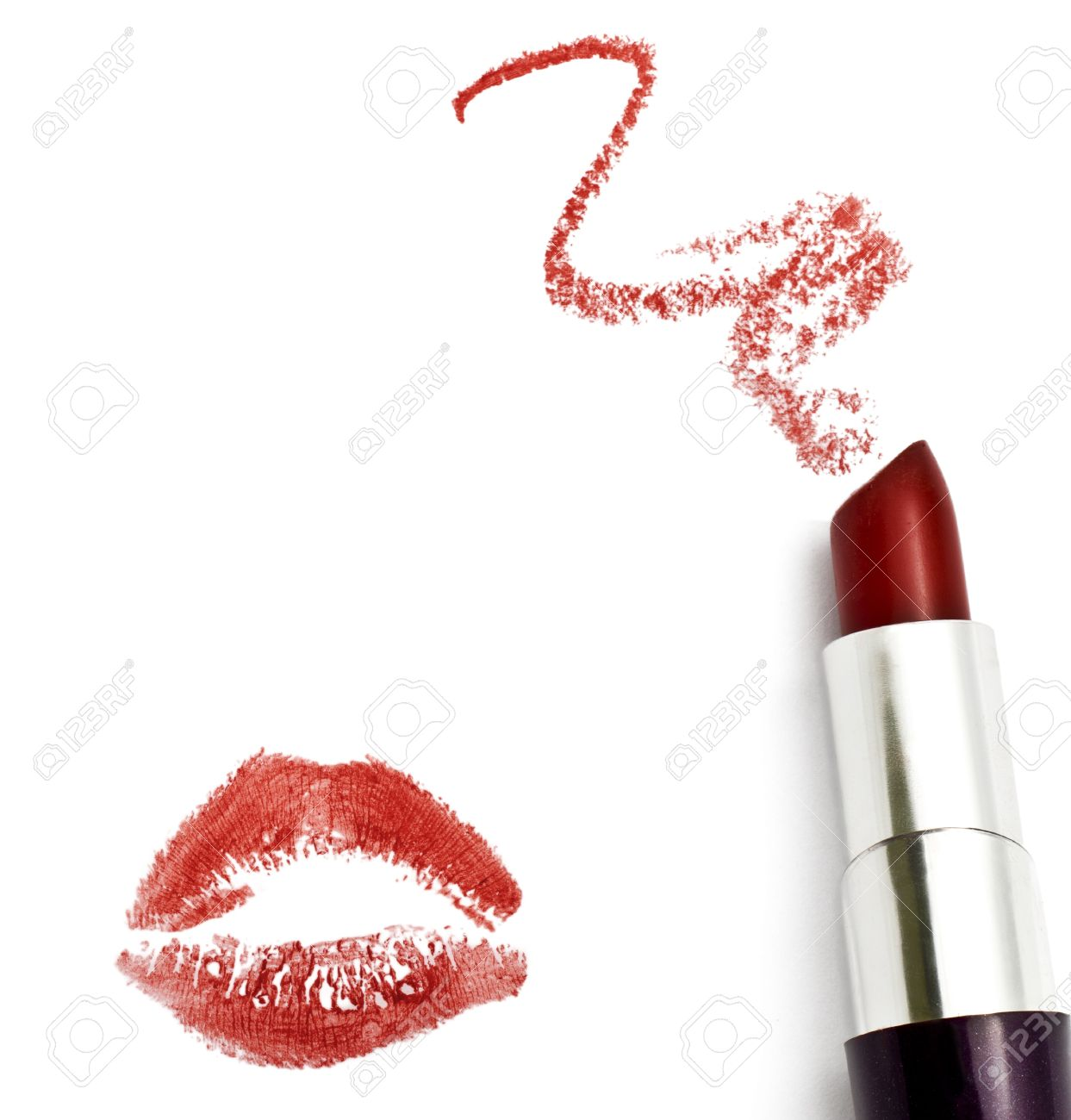 Red lipstick with a kiss on white background Stock Photo - 16243970