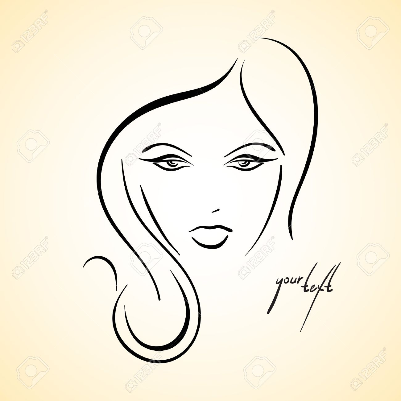 Stylish drawn girl sketch stock vector 13554723