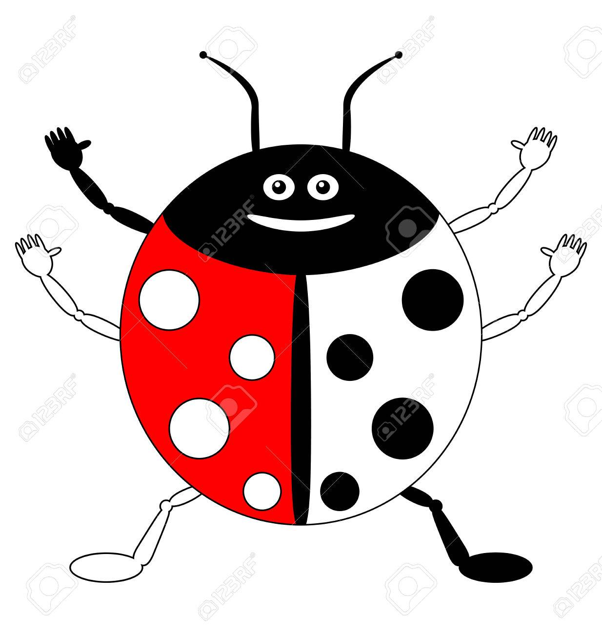 Color By Example, Insects - Cute Smiling Ladybird Royalty Free ...