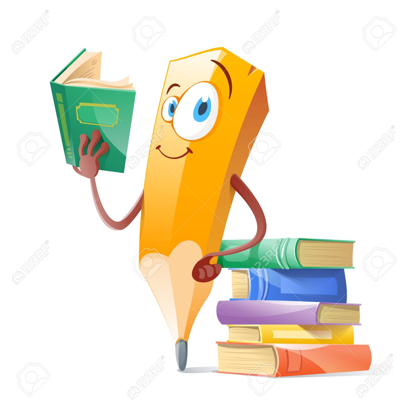 Funny pensil with books. Education concept. - 94281333
