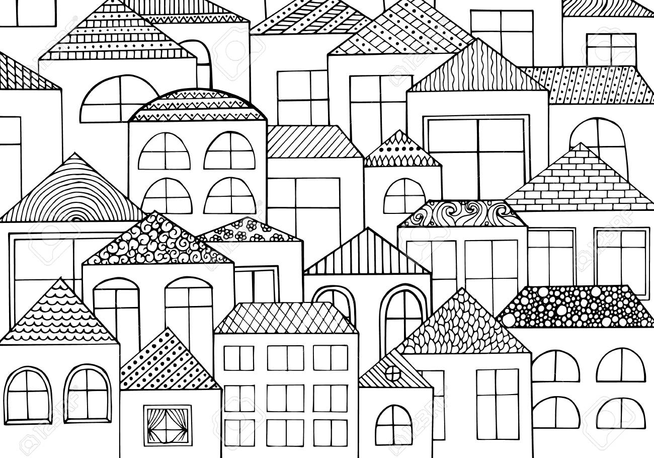 Hand Drawn With Ink Background With A Lot Of Houses Homes With Royalty Free Cliparts Vectors And Stock Illustration Image 53894369