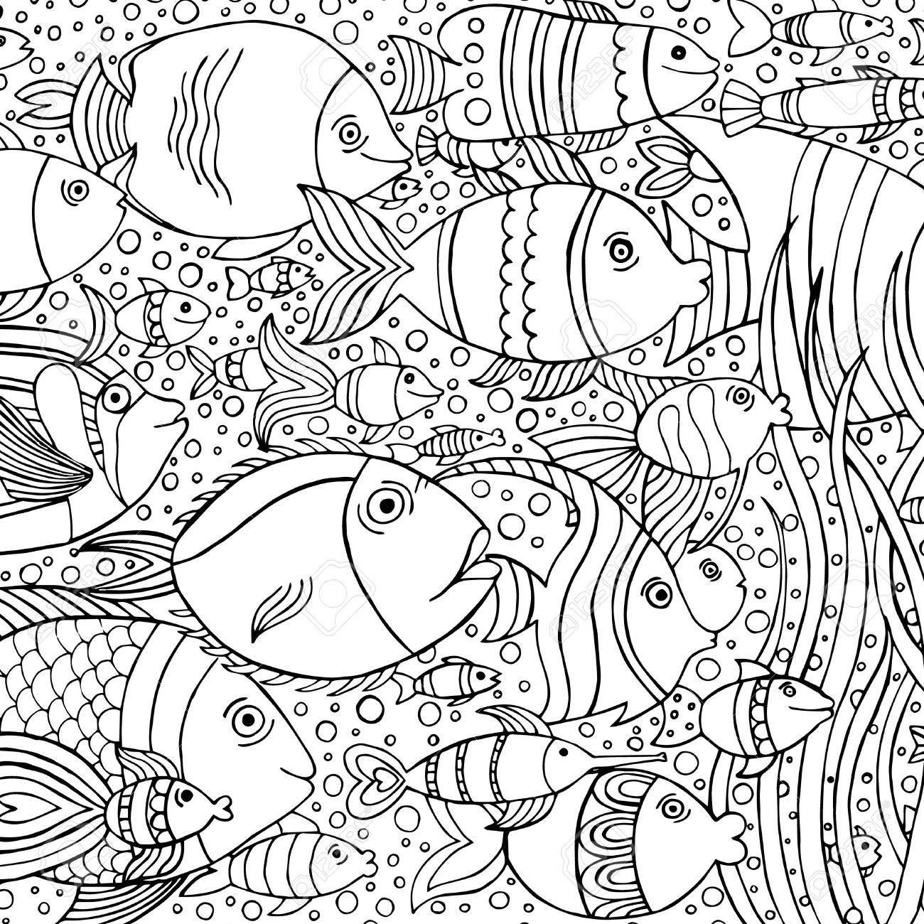 Mano Fondo Dibujado Con Muchos Peces En El Agua. Diseño De Vida ...