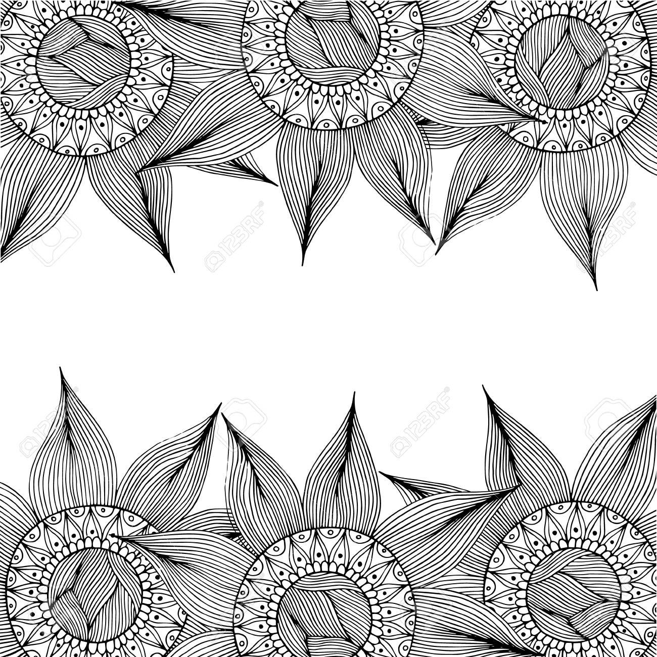 Dibujado A Mano Con Fondo De Tinta, Tarjeta Con Flores Abstractas ...