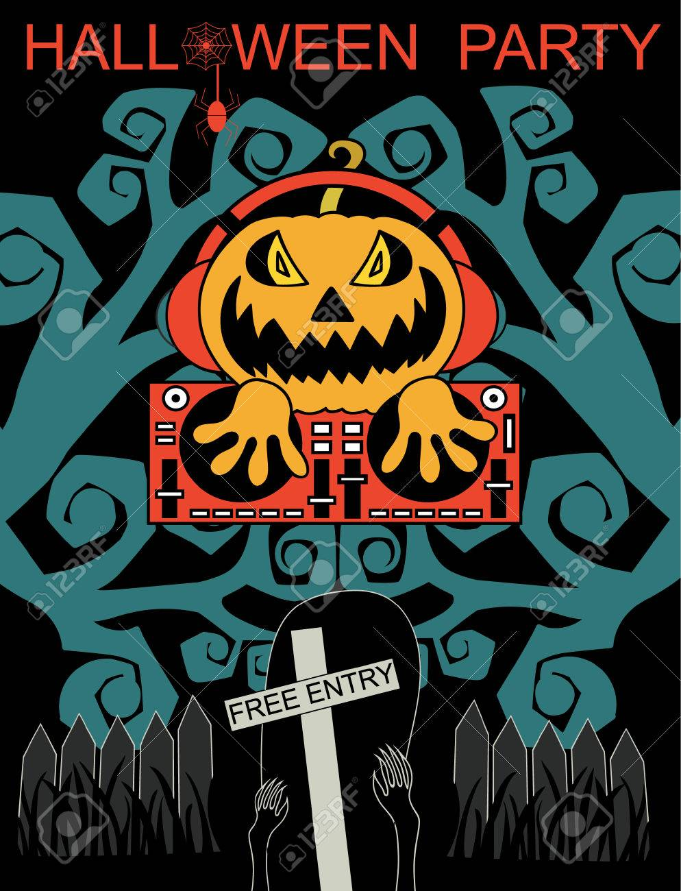 Halloween Party Design Template With Dj Pumpkin And Place For ...