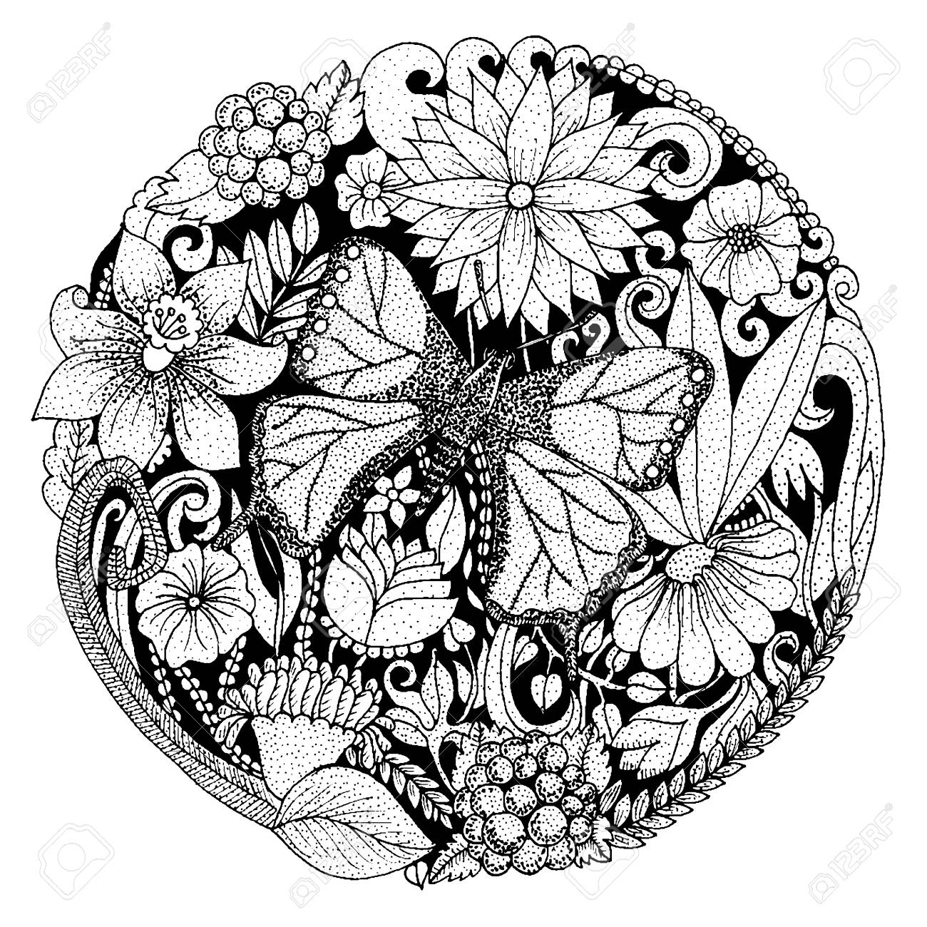 Background With Flowers, Butterfly, Leaves. Nature Design For ...