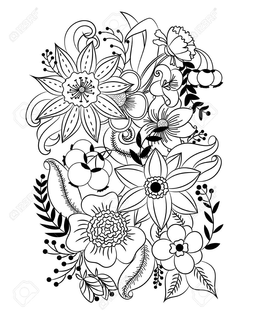 Dibujo Para Colorear Con Flores Y Hojas Blanco Y Negro Patrón De Ilustración Vectorial Se Puede Utilizar Para La Coloración De Las Páginas Del