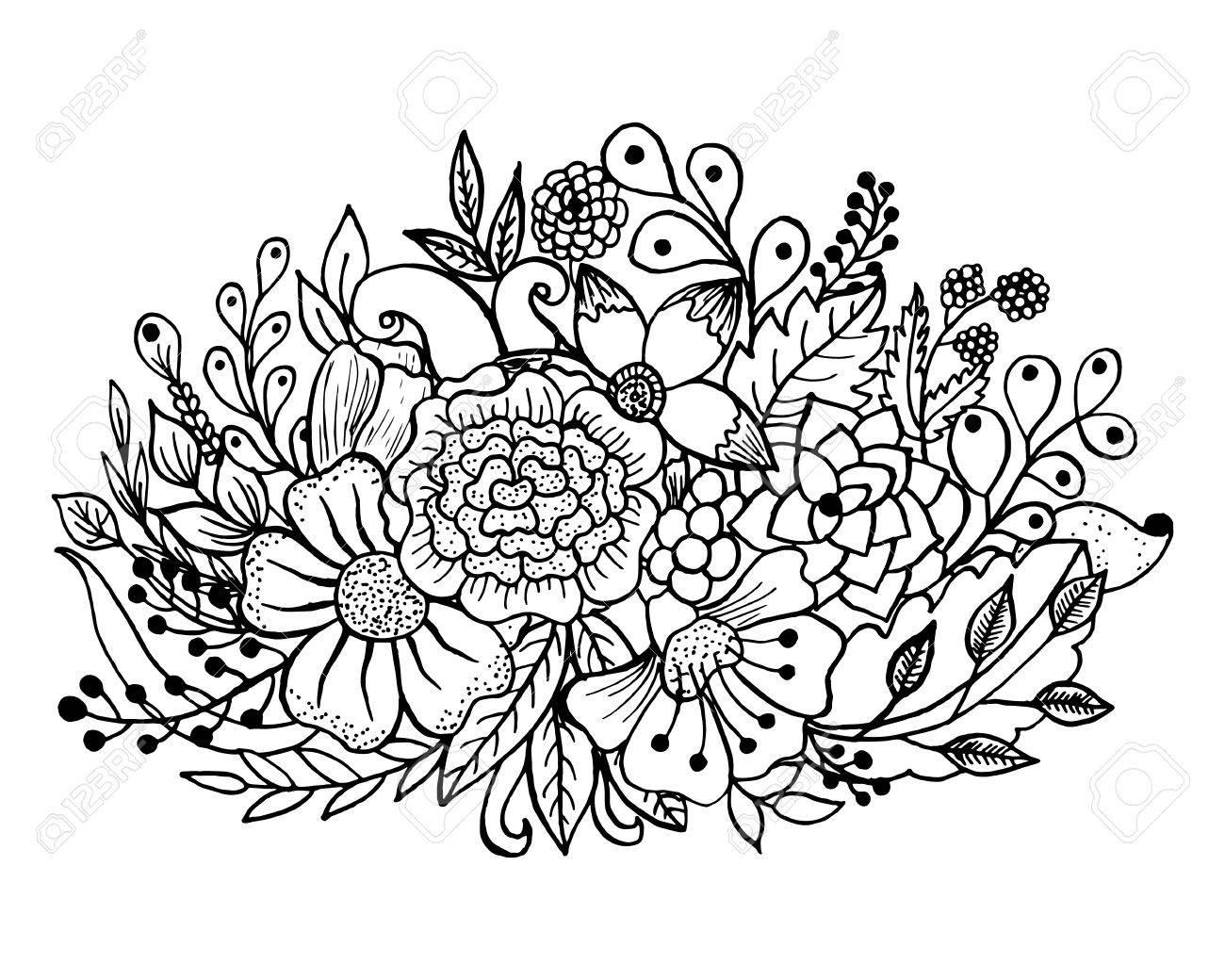 Malvorlage Mit Blumen Und Blättern. Vector Musterschwarzweiss ...
