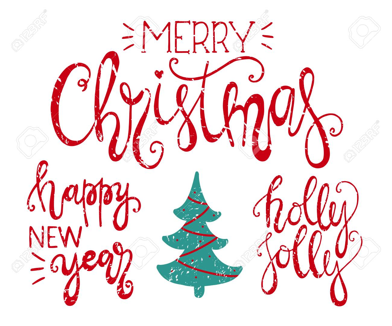 merry christmas happy new year and holly jolly handdrawn lettering xmas typography poster