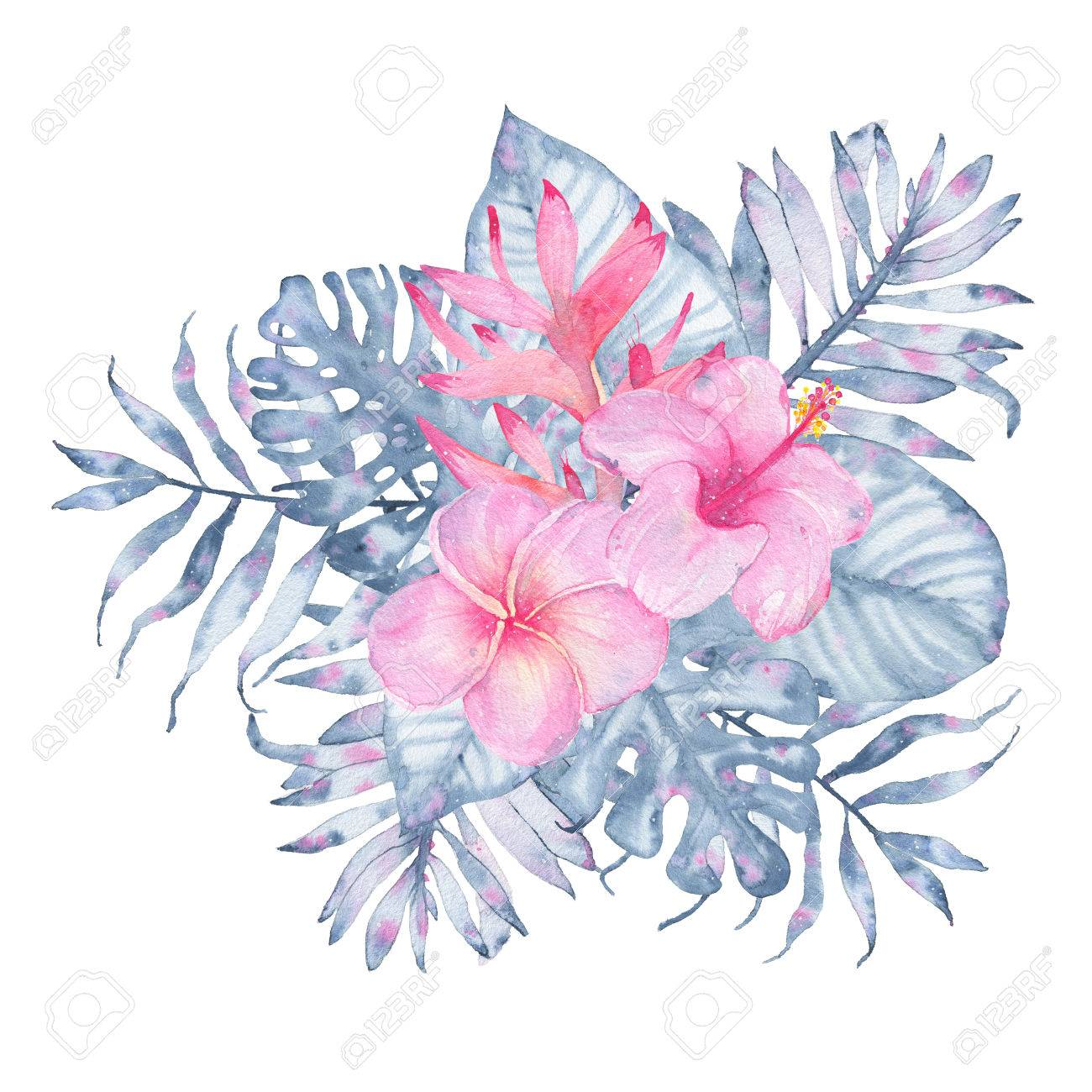 Watercolor hand painted tropical flower bouquet pink calla hibiscus illustration watercolor hand painted tropical flower bouquet pink calla hibiscus frangipani and leaves of indigo palm monstera isolated on white izmirmasajfo