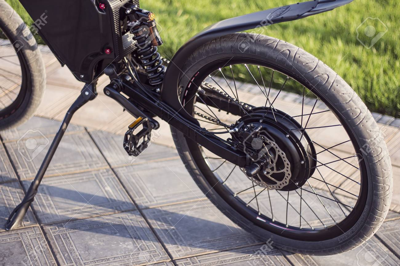 Electric Bike Motor >> Electric Bike Motor Wheel Close Up With Pedal And Rear Shock