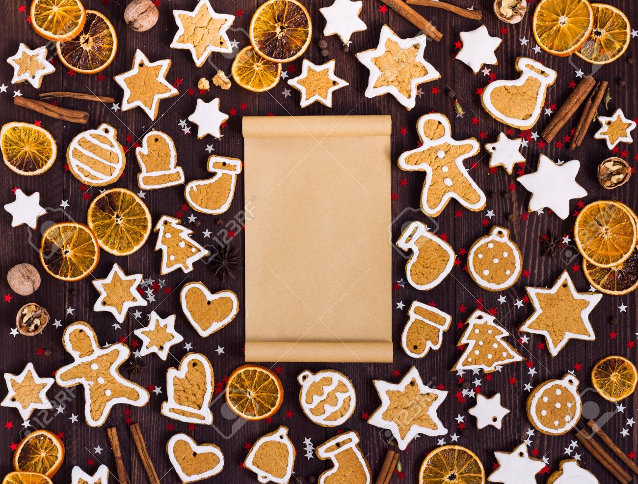 Gingerbread Cookies Christmas Empty Paper For Recipe New Year