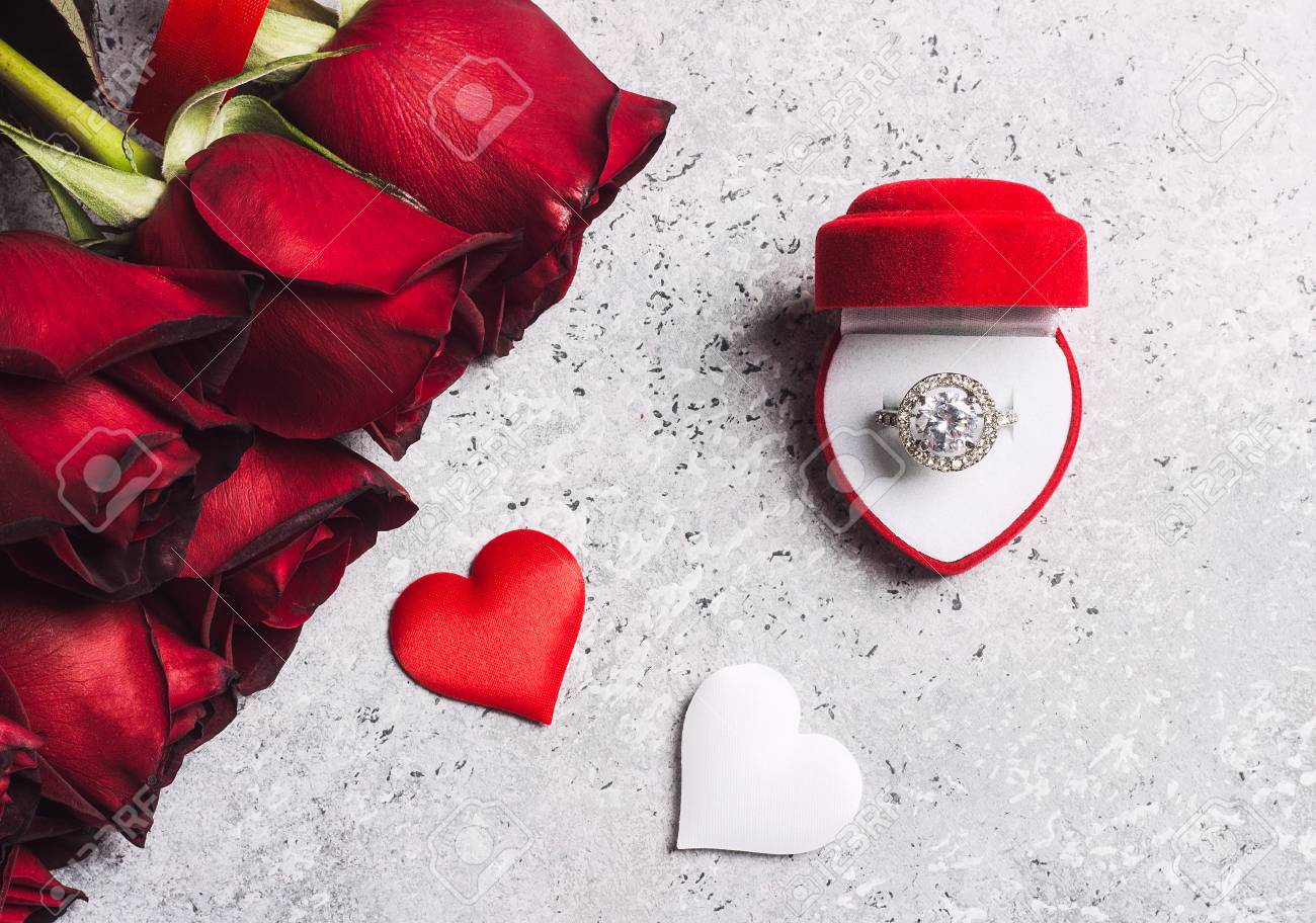 Stock Photo Valentines Day Marry Me Wedding Engagement Ring Box With Red Rose Gift Surprise On Grey Background Love Flower For Woman Making Proposal: Red Wedding Ring Box At Reisefeber.org