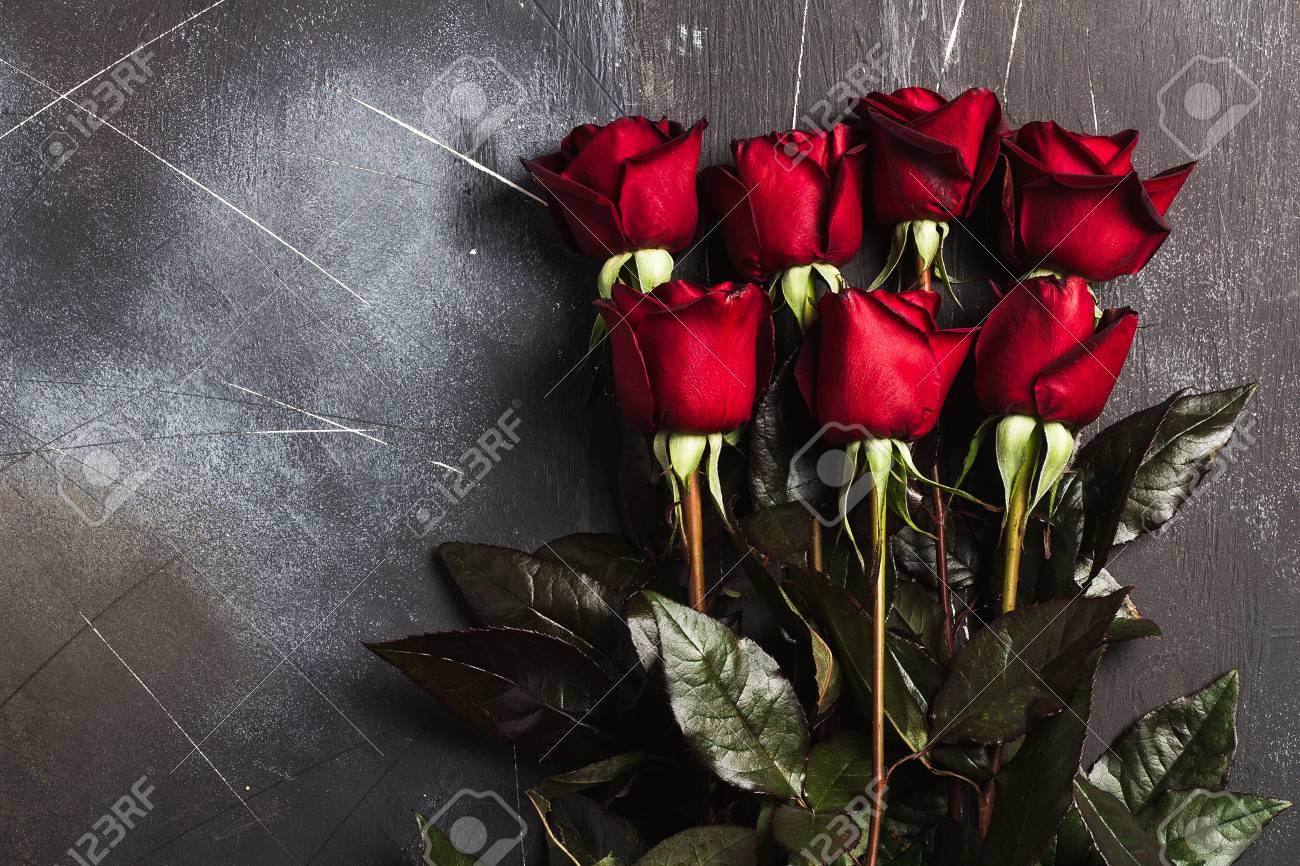 Valentines Day Womens Mothers Day Red Rose Gift Surprise On Dark
