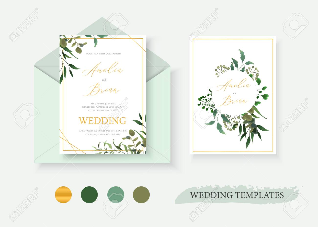 Wedding floral gold invitation card envelope save the date design with green tropical leaf herbs eucalyptus wreath and frame. Botanical elegant decorative vector template watercolor style - 110008631