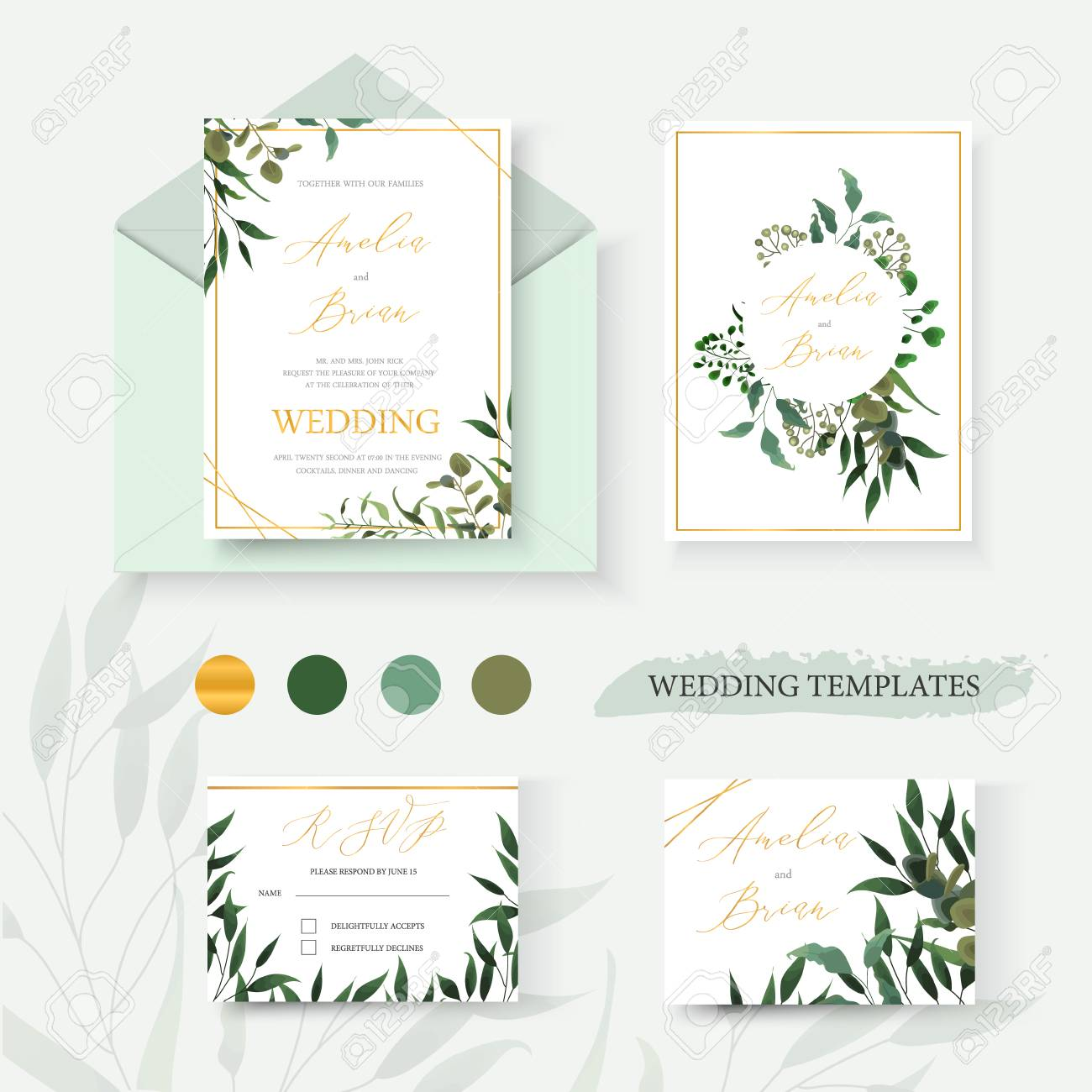 Wedding floral gold invitation card envelope save the date rsvp design with green tropical leaf herbs eucalyptus wreath and frame. Botanical elegant decorative vector template watercolor style - 110008632