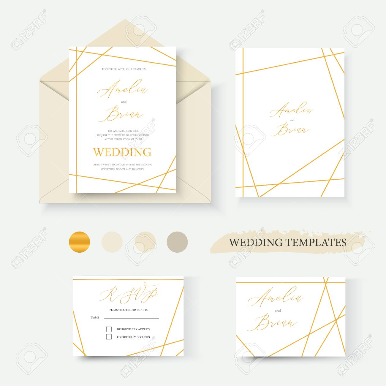 Wedding Geometrical Gold Invitation Card Envelope Save The Date
