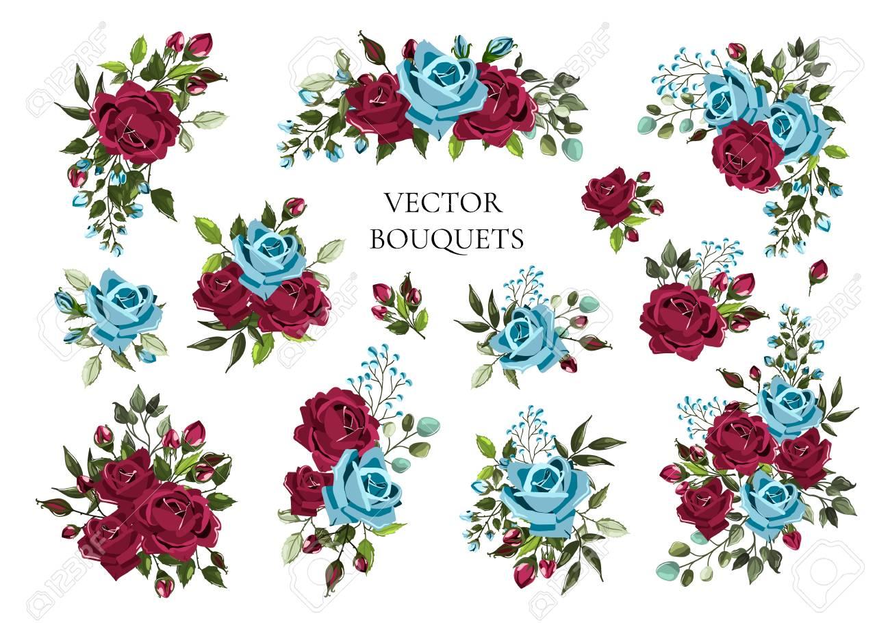 Navy Blue Flowers Vector