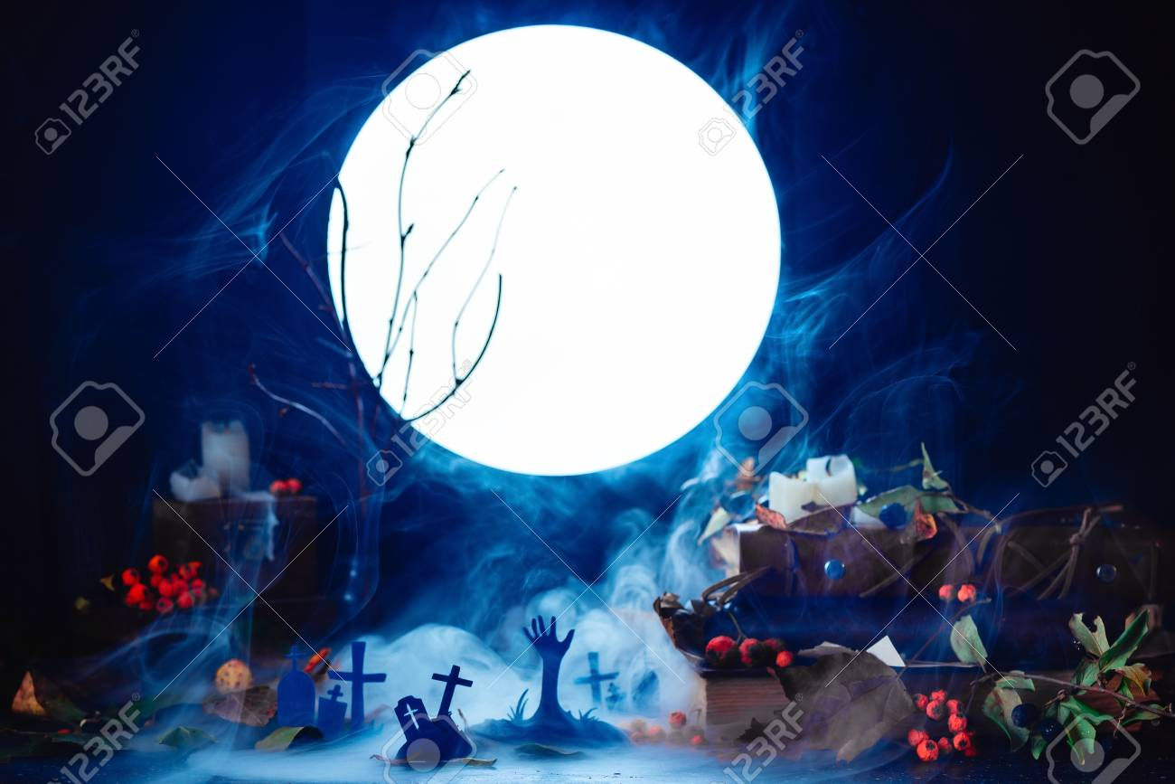 Christmas Zombie Wallpaper.Graveyard With Rising Zombies Silhouettes In Full Moon Light