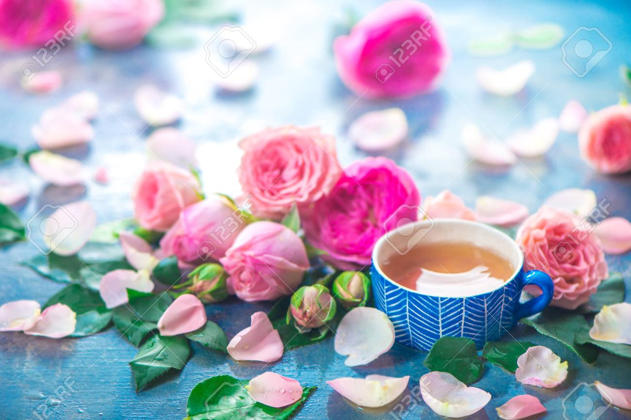 Rose tea photography with ceramic teacups and flower petals on a wet light background with copy space. Seasonal header with drink - 114729976